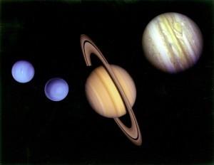 Planets Neptune, Uranus, Saturn and Jupiter taken by Voyager II