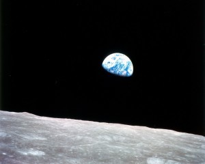 Earth Seen from the Moon's Surface